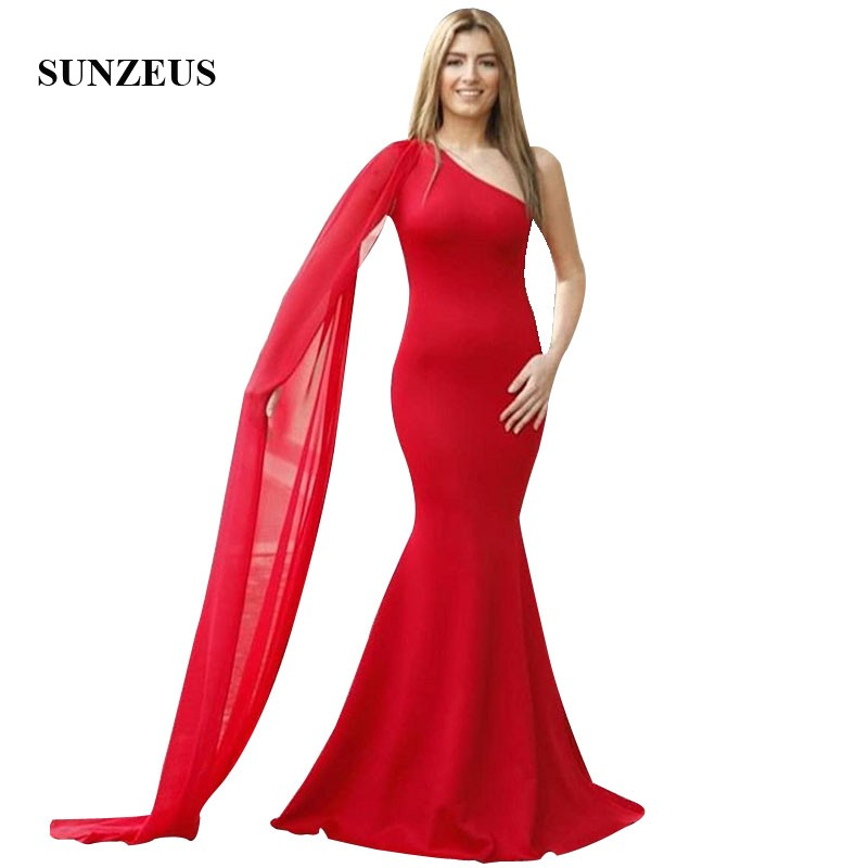 Red Mermaid Evening Dresses One Shoulder Watteau Train Long Formal Gowns Simple Elegant Women Dress For Party