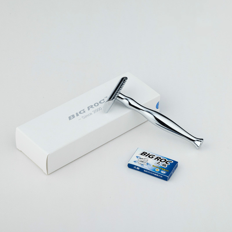 Memale Gift Box Package Extended Shank Copper Zinc Alloy Hand Shaver Old Fashioned Razors + 5 Stainless SteelReplacement Blades
