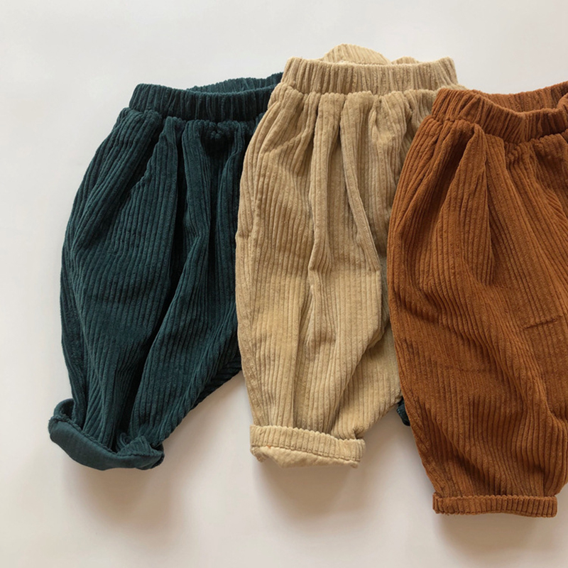 Kids Casual Elastic Waist Pant Solid Color Cotton Corduroy Trousers Korean Style Baby Boys Girls Pants Children's Clothing 1