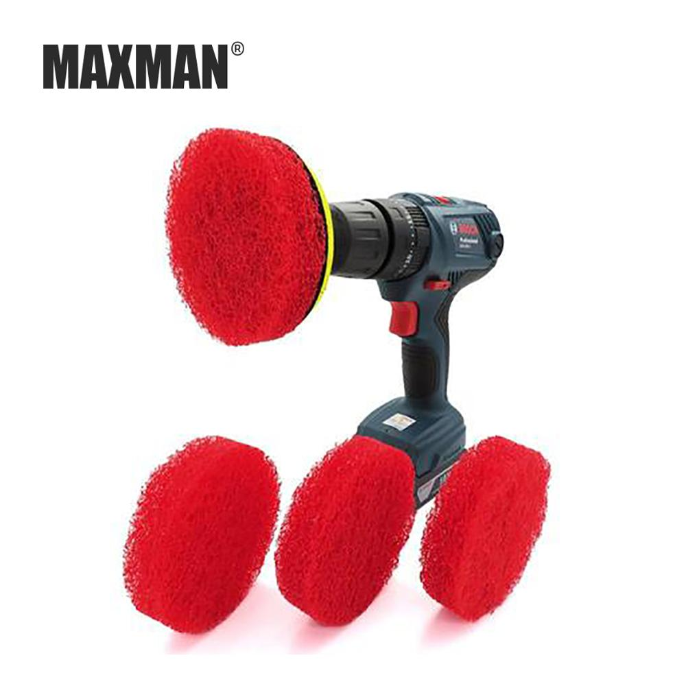 MAXMAN 4 Inch 100MM Red/White Scouring Pad Electric Brush Head Self-adhesive Replaceable Housework Cleaning Polishing Rust