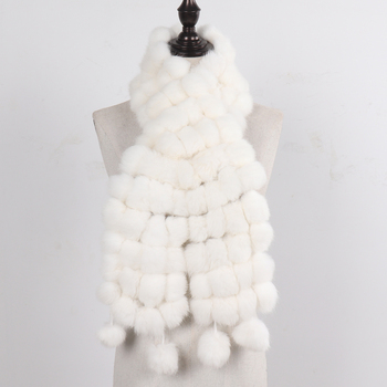2020 Hot Sale Winter Women Real Fur Scarf Natural Warm 100% Genuine Rabbit Fur Scarves Lady Hand Knitted Real Rabbit Fur Muffler
