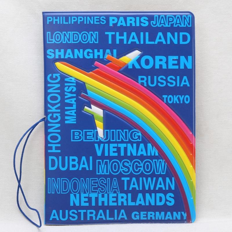 Travel Accessories Passport Cover Wallet Bag Cartoon Airplane Rainbow Women ID Address Holder Portable PU Leather Boarding