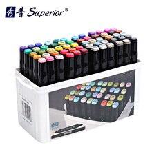 Улучшенный художественный маркер спиртовые маркеры двуглавый маркер ручка комплект, принадлежности для живописи красочные водонепроницаемые ручки кисти ручка чертежные маркеры