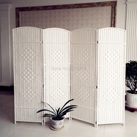 Grass woven rattan woven screen folded manually to cut off solid wood Fashion Hotel porch living room bedroom mobile folding