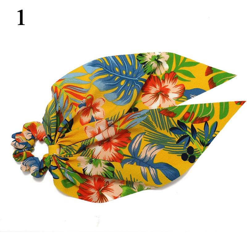 Bohème grande fleur chouchous longs banderoles arc cheveux écharpe femmes filles doux cheveux corde cravates mode cheveux accessoires chapeaux 67