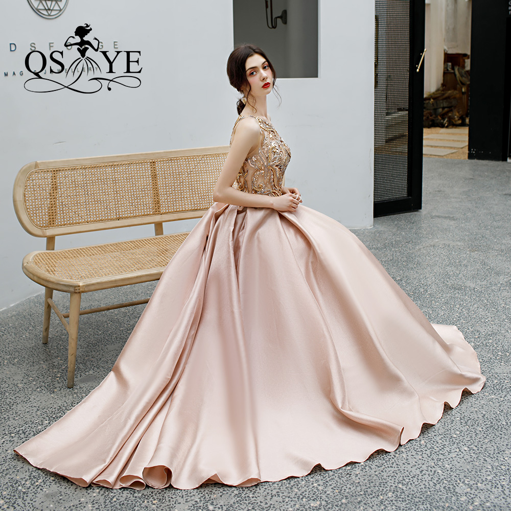 QSYYE 2019 Long   Prom     Dresses   tulle o-neck spaghetti strap court train Beading Floor Length Formal Evening   Dress   Party Gown