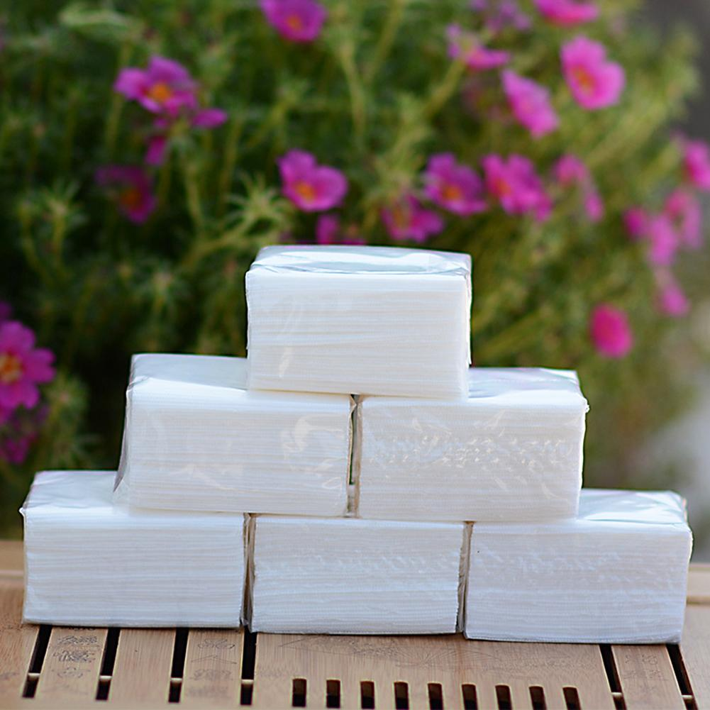 5 Packs Single Layer Disposable Wood Pulp Soft Napkin Paper Towel Toilet Tissues  Is Delicate And Smooth, It Won't Lose Crumbs.