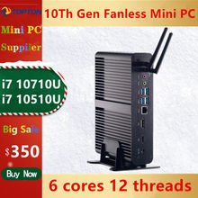 2020 neue 10TH GEN Intel Core I7 10710U 10510U Fanless Mini PC 64GB DDR4 NVME SSD Windows 10 pro gaming Computer Desktop HDMI DP