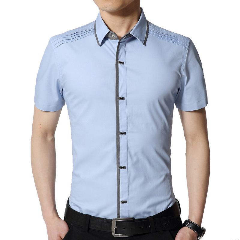 2020 Brand Casual Plus Size Short Sleeve Slim Fit Men Shirt 100% Pure Cotton Summer Social Dress Shirts Mens Fashions
