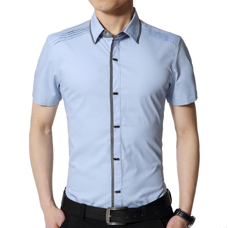 2020 Brand Casual Plus Size Short Sleeve Slim Fit Men Shirt 100% Pure Cotton Summer Social Dress Shirts Mens Fashions