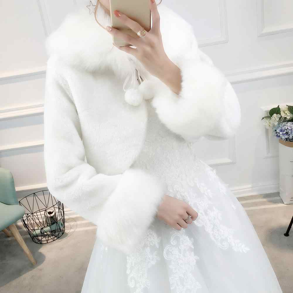 Warm Wedding Jacket Faux Fur Bridal Wrap With Long Sleeves Hot Wedding Accessories Bride Coat