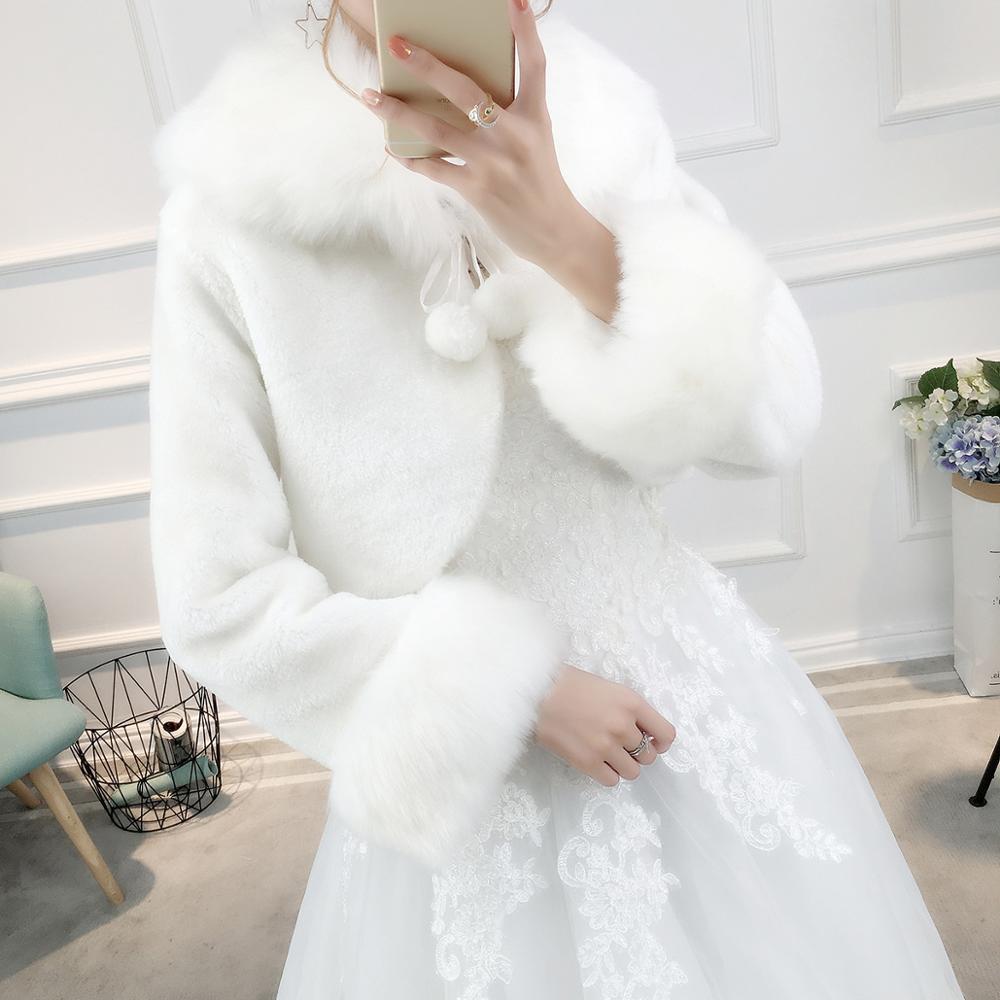 Warm Wedding Jacket Faux Fur Bridal Wrap With Long Sleeves Hot Wedding Accessories Bride Coat