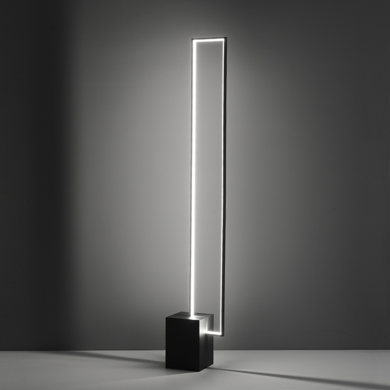 Nordic Minimalist LED Floor Lamps Tricolor Lamp Remote Control Indoor Decor Black Metal With Switch Button Standing Lamp