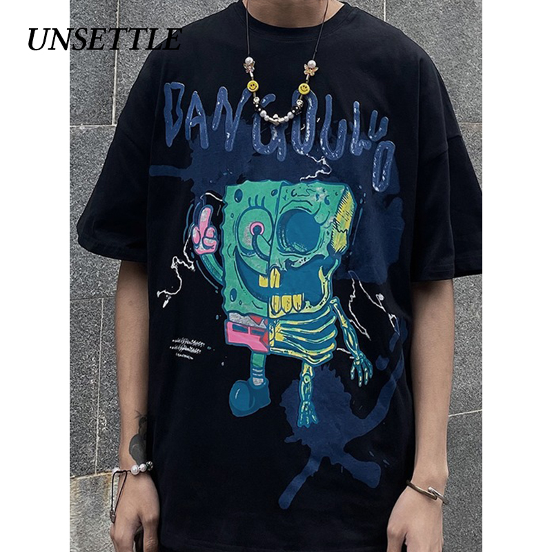 UNSETTLE 2020SS Summer Men/Women Harajuku T-shirt Hip Hop Funny Print Spoof Doodle Fashion Streetwear T Shirt Short Sleeve Tee