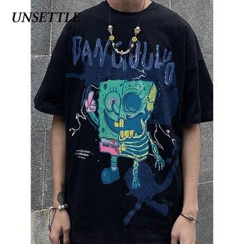 UNSETTLE 2020SS Summer Men/Women Harajuku T-shirt Hip Hop Funny Print Spoof doodle Fashion Streetwear t shirt Short Sleeve Tee