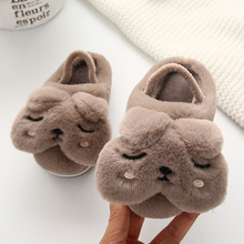 Cute Girls Slippers Toddler Boys Cartoon Dog Home Shoes Kids Winter Warm Fur Children Indoor Pantuflas