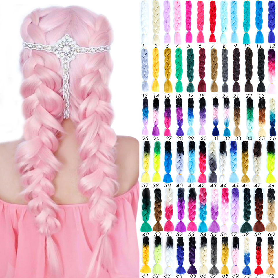 MEIFAN 24 Inch Jumbo Braids Long Ombre Synthetic Braiding Hair Crochet Pink Blue Grey Hair Extensions African Viscera Braids