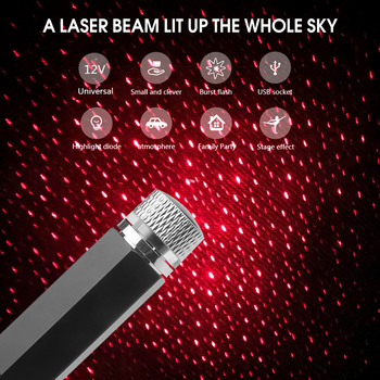 360 Graden Rotatie Auto Dak Ster Licht Laser Usb Led Light Starry Galaxy Patroon Sfeer Lamp Projector Auto Decoratie D-MD