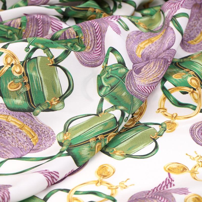 114CM de large 16MM sacs et chapeaux imprimer mince noir blanc soie crêpe de Chine tissu pour été robe veste pantalon B208