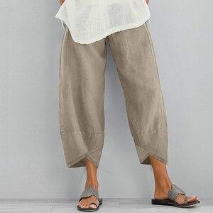 Женские повседневных штанов шароваров; Однотонные Цвет из хлопка и льна Широкие штаны комплект летней одежды с эластичной резинкой на талии размера плюс для девочек свободные удобные брюки для девочек Брюки      АлиЭкспресс