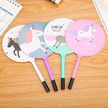 Cartoon Unicorn Fan Pen Cute Student Prize Gifts Pony Beads Stationery