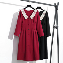 Plus Size Ladies Dresses For Women Clothing 4xl 5xl Oversize Long Sleeve With White Collar Vintage Spring Autumn French Za Dress