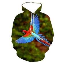 Толстовка мужская с длинным рукавом и 3d принтом в виде попугая