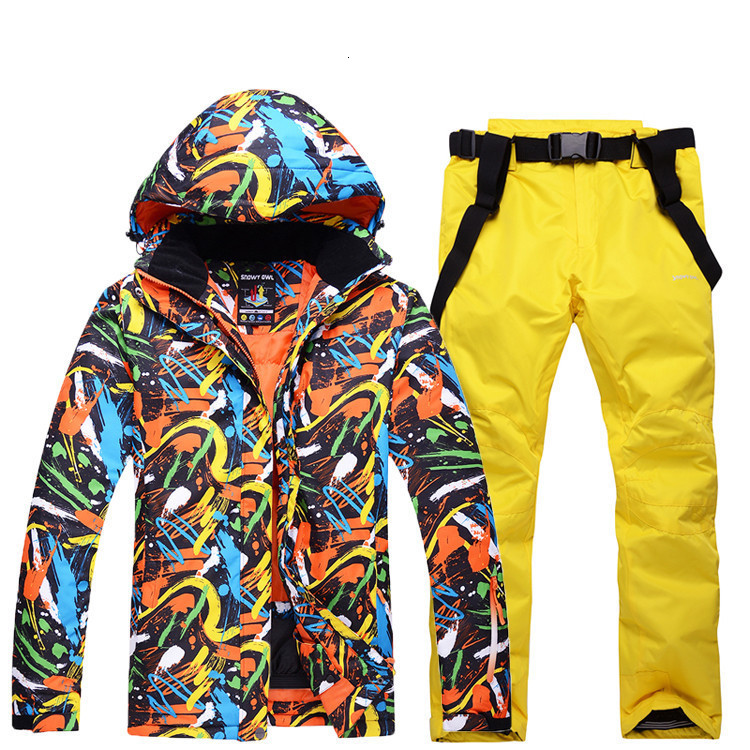 Colorful Men's Ski Suit Men's Winter Outdoor Veneer Waterproof Warm Thick Breathable Sports Suit Skiing Jacket And Pants 2pcs