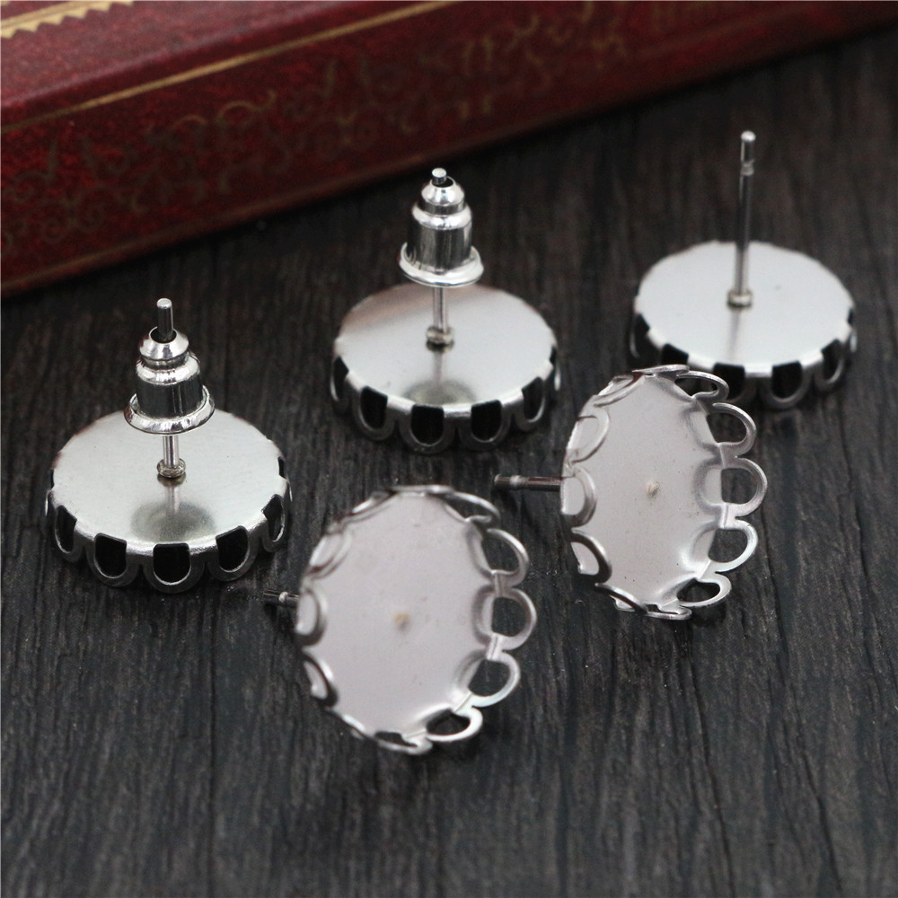 ( No Fade ) 12mm 20pcs Stainless Steel Earring Studs,Earrings Blank/Base,Fit 12mm Glass Cabochons,Buttons;Earring Bezels (T2-30)