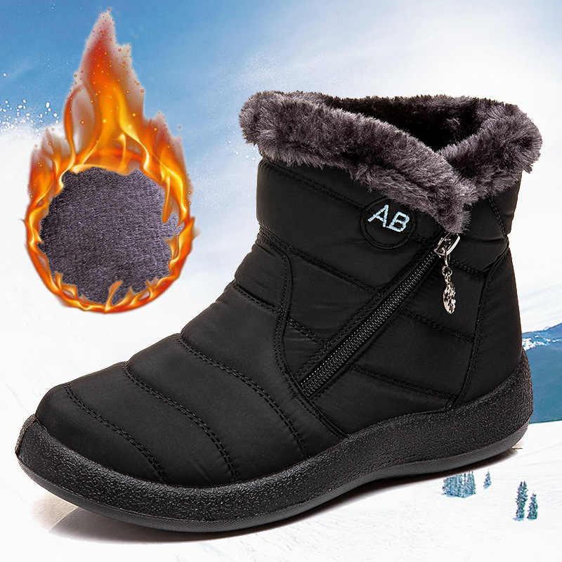 Kar botları peluş sıcak yarım çizmeler kadınlar için kış çizmeler su geçirmez kadın botları kadın kış ayakkabı Zip patik ücretsiz kargo