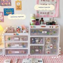 MINKYS Kawaii o dużej pojemności przezroczysty typ szuflady Organizer na biurko schowek na biurko obsadka do pióra szkolne materiały biurowe