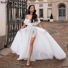 Smileven Seite Split Hochzeit Kleid Kurzen Rock Boho 2020 Pailletten Spitze Brautkleider Robe de soriee Türkei Hochzeit Kleider