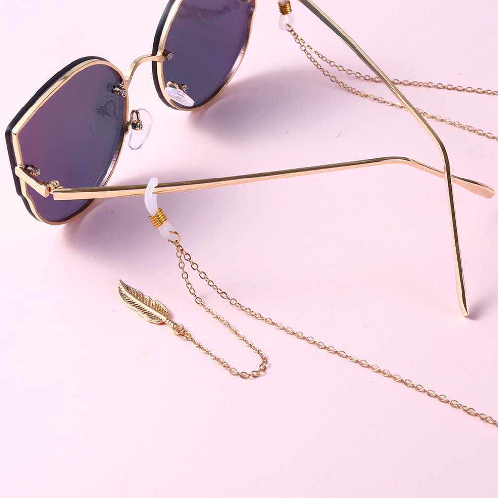 Simple Leaf Sunglasses Chain For Women Pearl Glasses Chain Hanging Neck Anti-glass Ropes Glasses Accessories