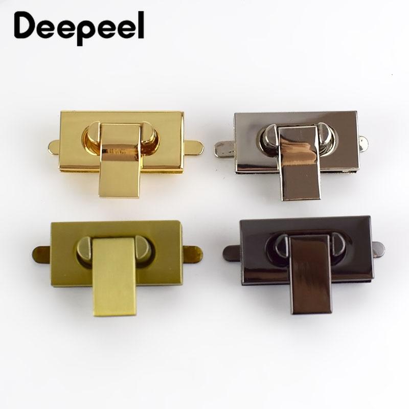 Deepeel 2Pcs 35x17mm Handbag Metal Locks Bag Twist Turn Lock For DIY Replacement Purse Snap Clasp Closure Hardware Accessories