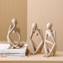 Estilo europeu moderno resina abstrata pensador estátua para decoração simples escultura estatueta escritório do hotel decoração de casa novo