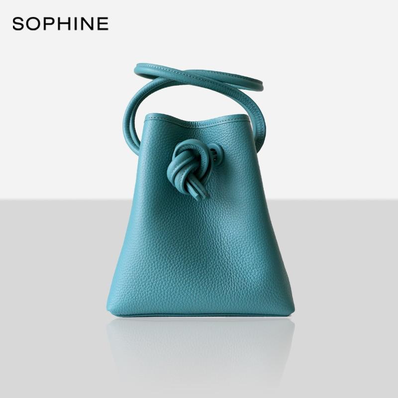 Fashion Casual Ladies Bucket Women Bag Cowhide Genuine Leather Crossbody Shoulder Bags Japan Designer Style