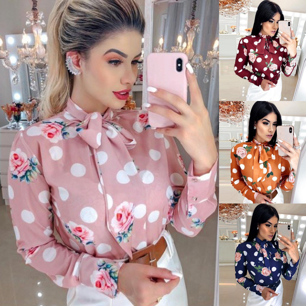 Autumn New Fashion Women Elegant Dot Foral Printed Tie Long Sleeve Casual Blouse Shirt Wholesale Free Ship рубашка женская Z4