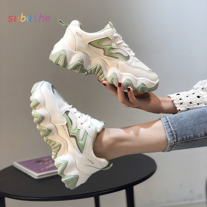 Fashion Casual Sneakers Women Walking Europe Station Wave Sole College Student Net Red Increase Shoes Very Cool And Trendy 2020
