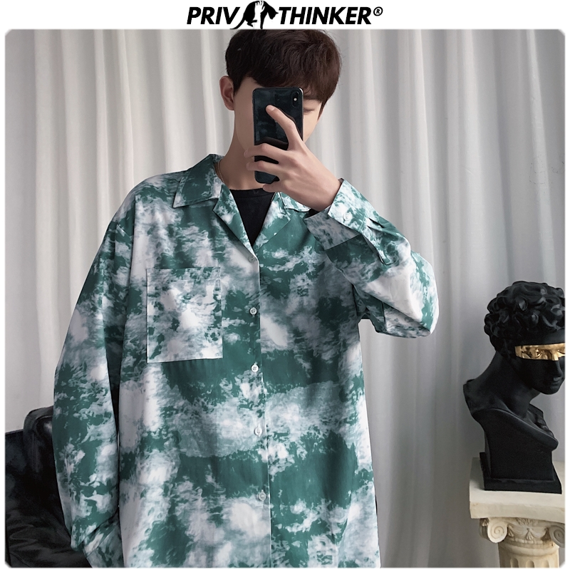 Privathinker Men Spring Camouflage Tie Dye Gradient Shirt Mens Fashion Loose Shirts Male Harajuku Clothes Long Sleeve Tops 2020