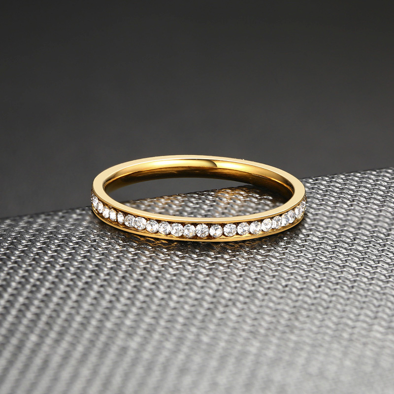 Vnox 2mm Bling CZ Stones Ring for Women Lady Gold Tone Stainless Steel Shinny Crystal Finger Band Elegant Jewelry 5