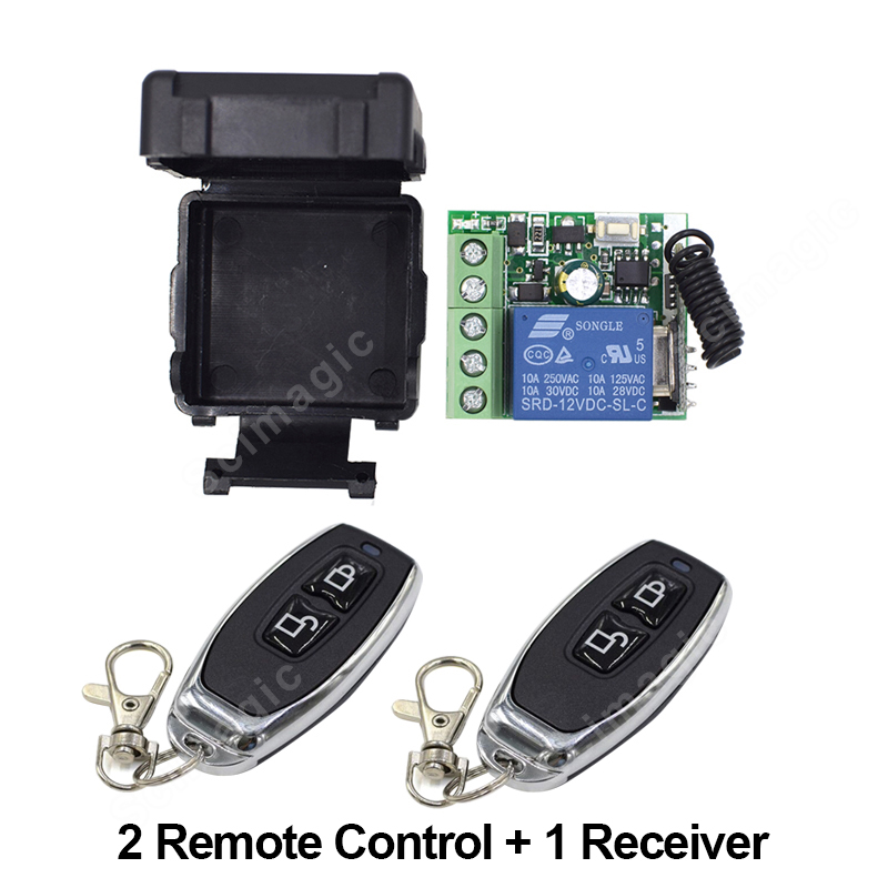 DC12V Wireless Remote Control Light Switch 10A Relay Output Radio DC 12V Wuth Two-button Remote Control Switch 433MH