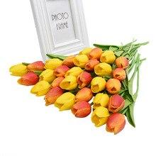 30 piezas tulipanes mezcla de Color Real tacto flores artificiales de látex para la decoración de la boda hogar fiesta Mesa decoración tulipán ramo de flores