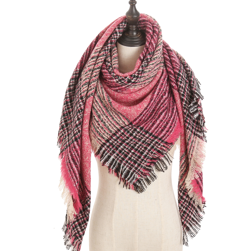 New 2020 Women Scarf Wintet Cashmere Scarves For Lady Shawls And Wraps Pashmina Triangle Knitted Soft Neck Bandana Foulard