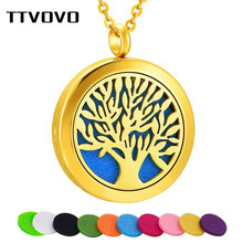 TTVOVO Tree of Life Essential Oil Diffuser Necklace for Women 316L Stainless Steel Container Locket Pendant Aromatherapy Jewelry(China)