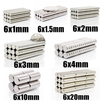 20~1000Pcs N35 Round Magnet 6x1 6x2 6x3 6x4 6x10 6x20 6x1.5 Neodymium Magnet Permanent NdFeB Super Strong Powerful Magnets 6*20
