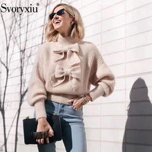 Svoryxiu 2019 New Autumn Winter Runway Knitting Pullovers Women's Long Sleevee Elegant Bow Sweater Jumper Female(China)