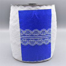 Wholesale 200yards/Roll White Lace Ribbon Tape 45mm/Wide Trim Handicrafts Embroidered African Fabric Material Applique