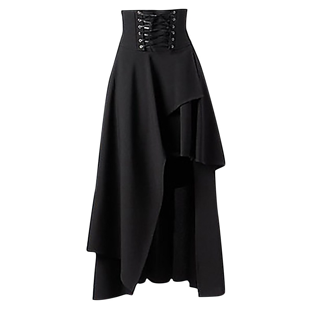 SAGACE Women Fashion Solid Gothic Layered Punk Lace Irregular Party Long Skirt Asymmetrical Lace-Up Sexy Princess Skirt  Oct 15