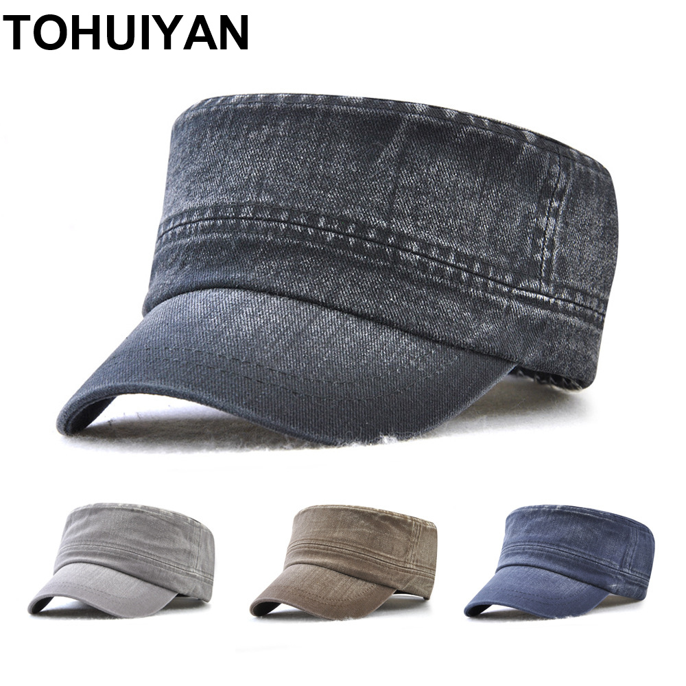 TOHUIYAN Classic Cadet Army Cap For Men Solid Washed Cotton Flat Top Caps Casual Male Gorra Militar Hombre Retro Bone Army Hats image