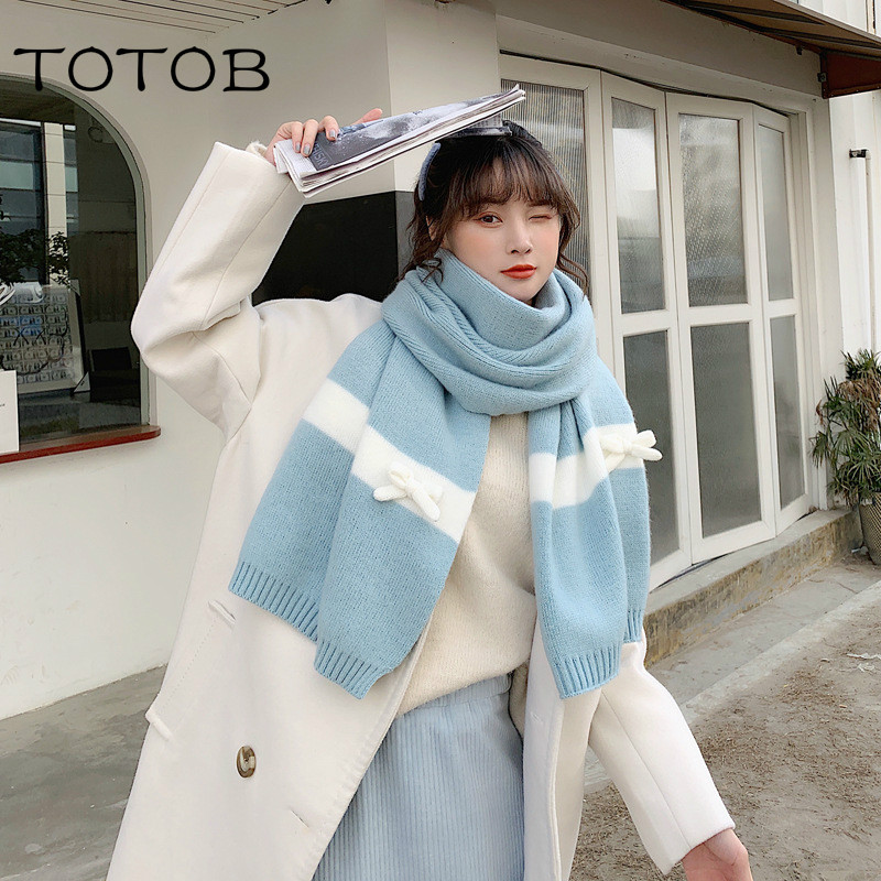Scarf Female Winter Cute Girl Net Red Student Bow Knit Wool Thick Warm Korean Version Of The Wild Scarf Outdoor Warm Scarf